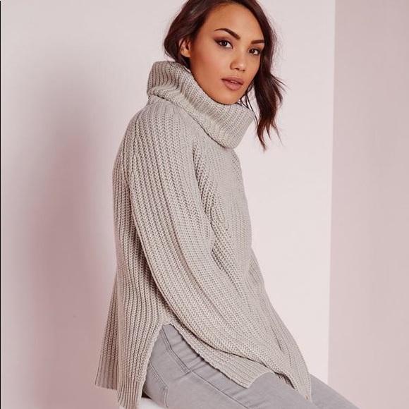 Missguided Gray Turtleneck Chunky Knit Sweater. M 5b675c0725457aa7312fe892 745e1fd42